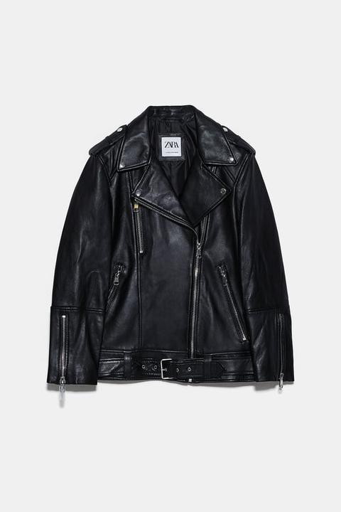 Cazadora Piel Oversize de Zara en 21 Buttons