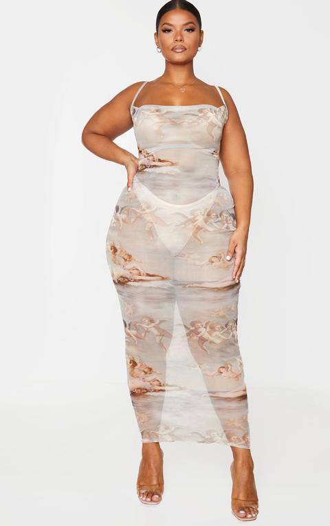 Plt Plus - Robe Longue Transparente À Imprimé Renaissance Nude Et Col Bénitier, Neutre