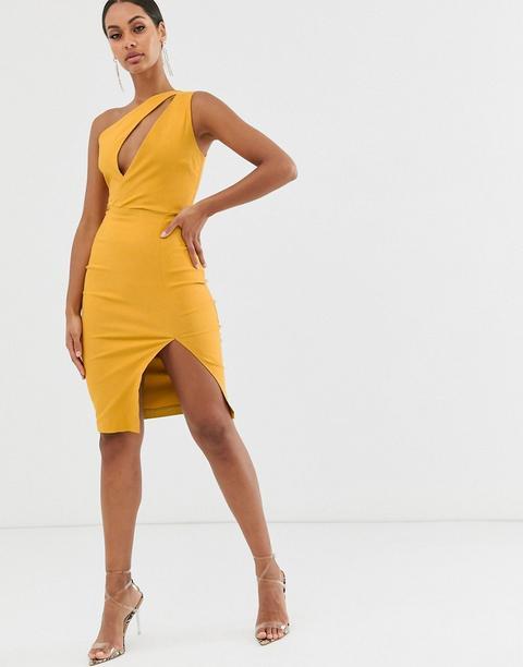 Vestido De Tubo Asimétrico Midi Con Diseño Elástico Y Abertura En Amarillo Dorado De Vesper