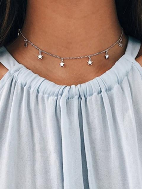 Collar De Cadena De Gargantilla De La Estrella Silver Golden