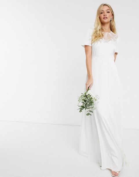 Vestido Largo Con Detalle De Encaje En Blanco De Y.a.s Wedding de ASOS en 21 Buttons