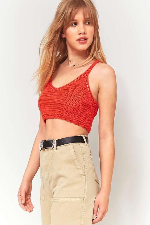 Crochet cropped tank top
