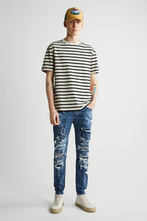 Jeans Skinny Bordados Y Rotos