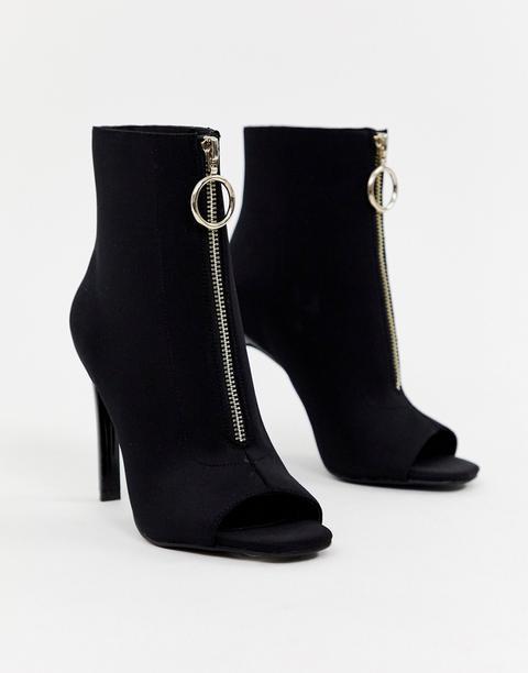 Asos Design Evelyn Peep Toe Sock Boots