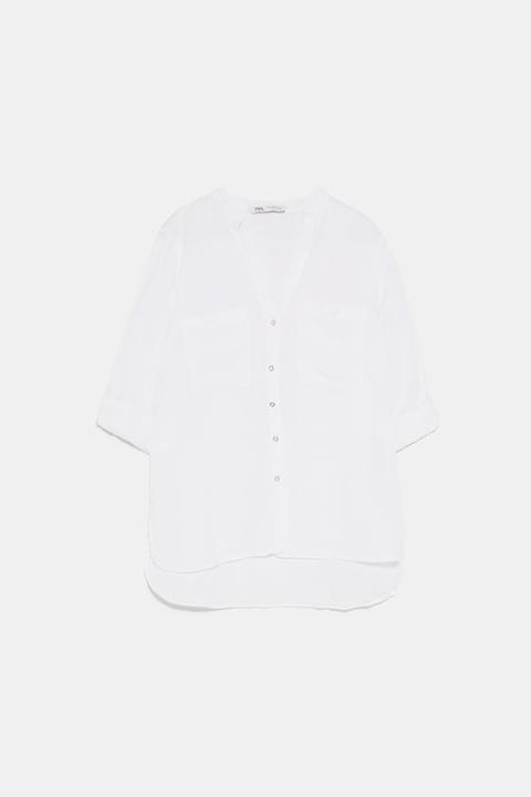 Camisa Lino Bolsillos