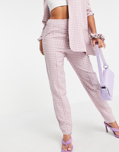 Pantalones Lilas De Corte Sartorial A Cuadros Vichy Mix And Match De Heartbreak-violeta