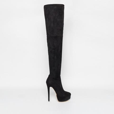 Shannon Black Suede Platform Thigh High Boots de Simmi Shoes en 21 Buttons