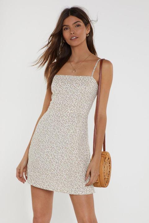Womens Dressing Gown Courte À Col Carré Et Imprimé Fleuri Vintage Balade Florale - Blanc - 34, Blanc