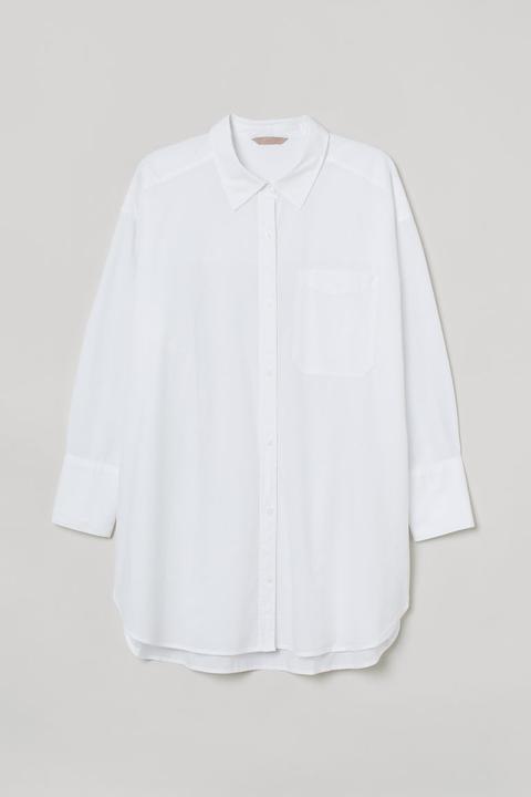 H & M+ Camisa De Algodón - Blanco