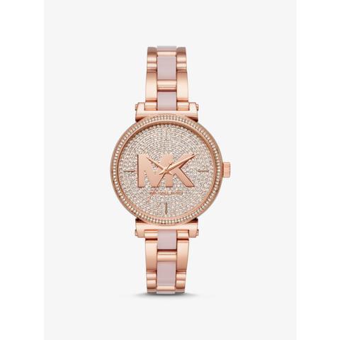 Reloj Sofie En Tono Dorado Rosa De Acetato Con Incrustaciones