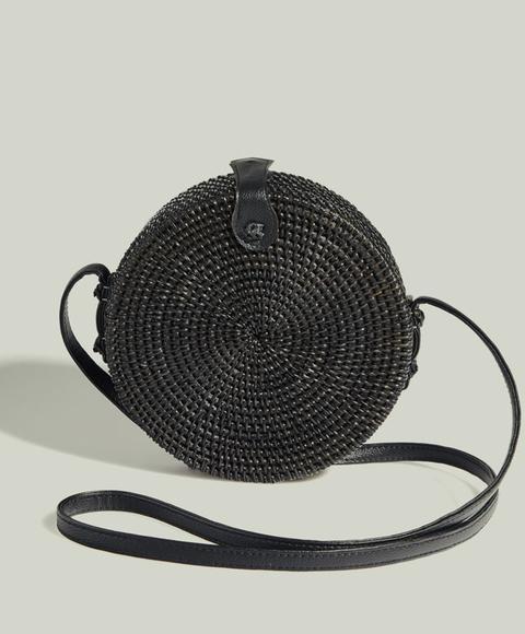 Bolso Redondo Color: Negro Talla: M Material: Poliuretano,ratán,algodón,