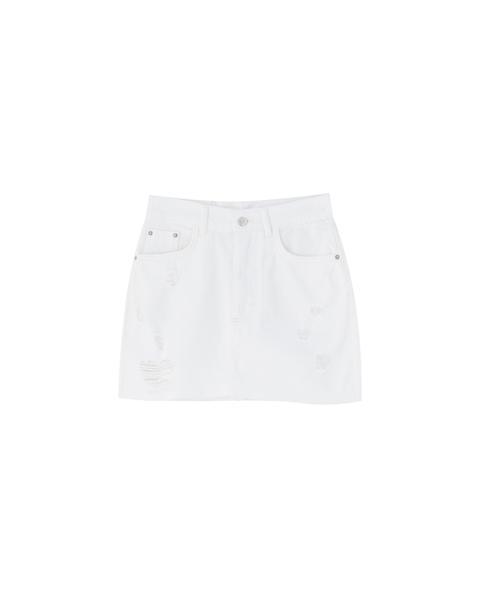 Minifalda Vaquera Blanca Rotos