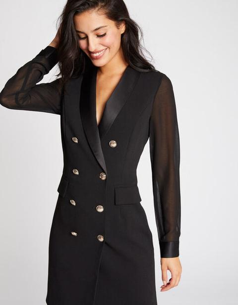 Vestido Cruzado Botones Cuello De Solapa Negro Mujer de Morgan de Toi en 21 Buttons