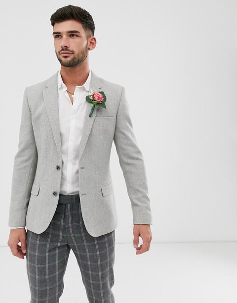 Americana Gris Ajustada De Mezcla De Lana Con Diseño De Espiga Ancho De Asos Design Wedding de ASOS en 21 Buttons