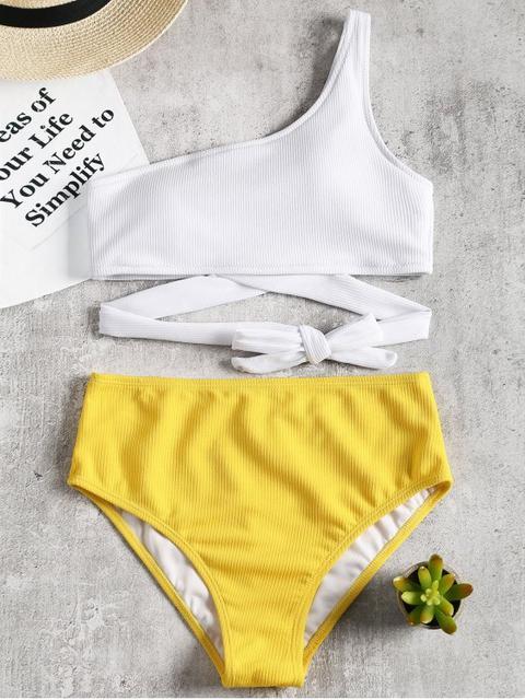 Conjunto De Bikini De Un Hombro Con Dos Tonos Yellow
