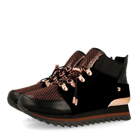 Sneakers De Mujer Estilo Botín En Cobre Con Diferentes Texturas 41022