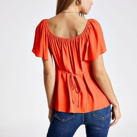 Bright Orange Bow Front Top