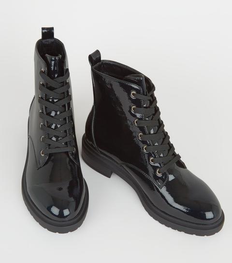 Wide Fit Black Patent Lace Up Hiker