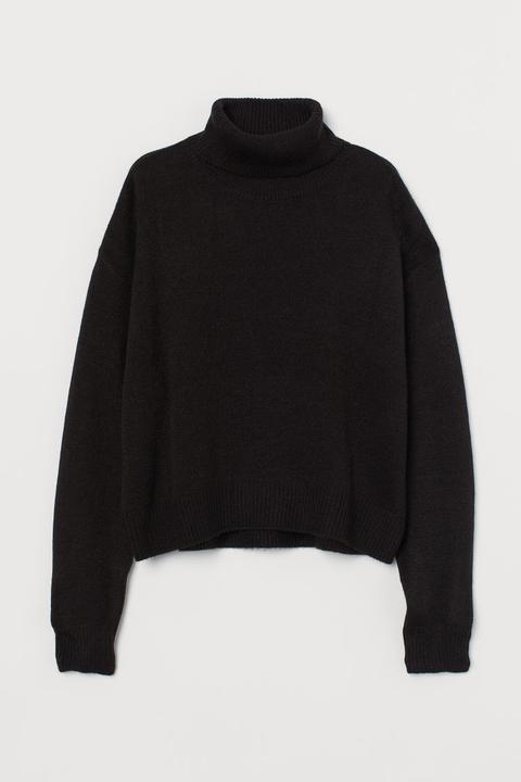 Jersey De Cuello Alto De Punto - Negro
