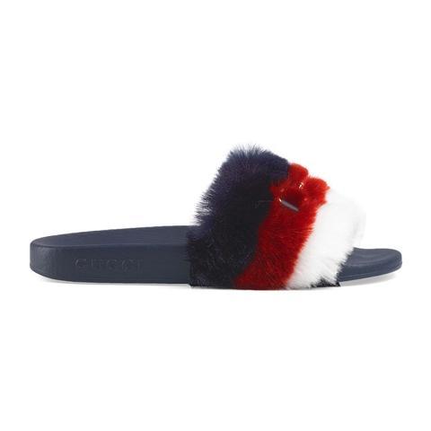 Horsebit Faux Fur Slides from Gucci