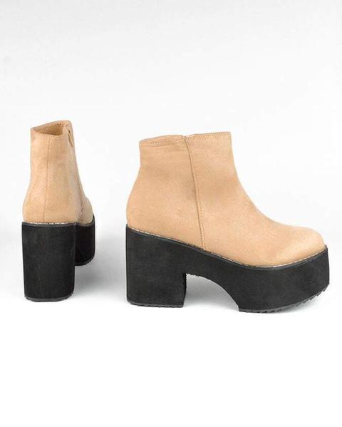 Leslie - Nude Platform Ankle Boots from