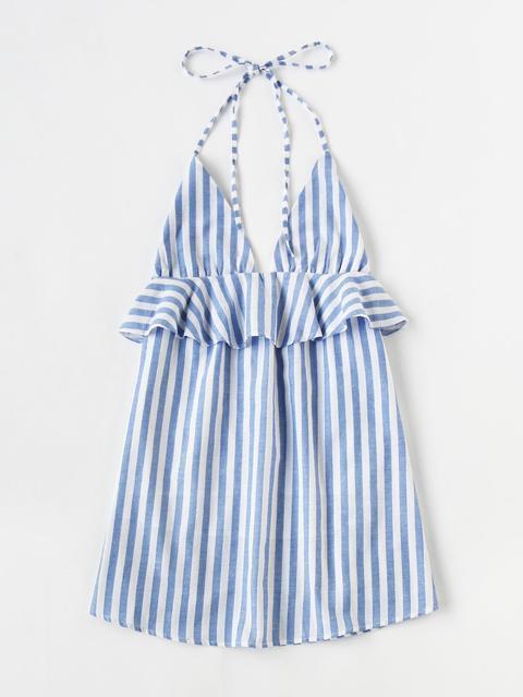 Vestido De Rayas Atado Al Cuello
