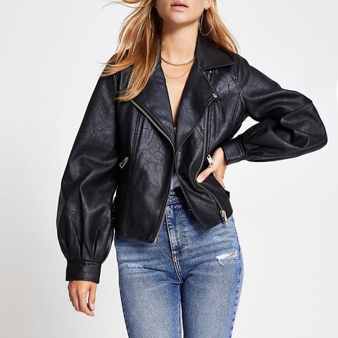 Black Faux Leather Balloon Sleeve Jacket