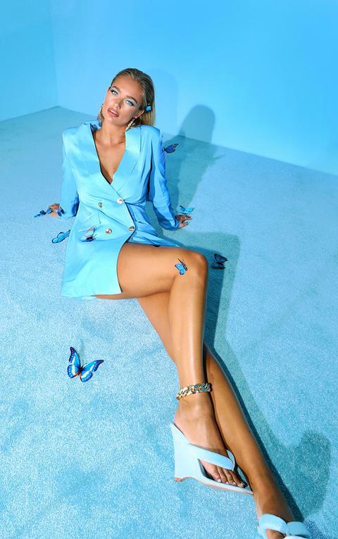 Robe Blazer Bleu Ciel À Boutons Dorés, Bleu Bébé