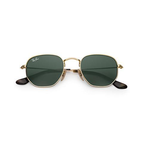 Hexagonal Junior Unisex Sunglasses Lentes: Verde, Montura: Oro