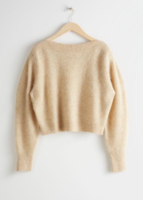 Wool Blend Boat Neck Sweater