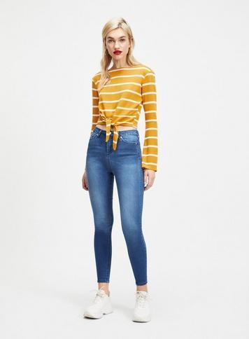 Womens Lizzie High Waist Super Skinny Mid Blue Jeans, Blue