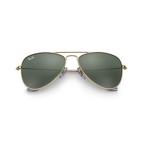 Aviator Junior Unisex Sunglasses Lentes: Verde, Montura: Oro