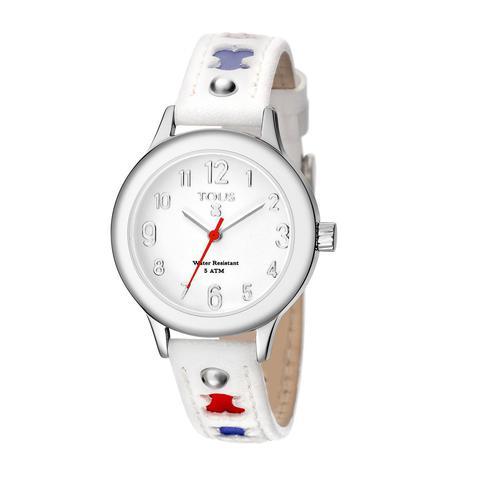 Reloj Dolce De Acero Con Correa De Piel Blanca Y Roja de Tous en 21 Buttons