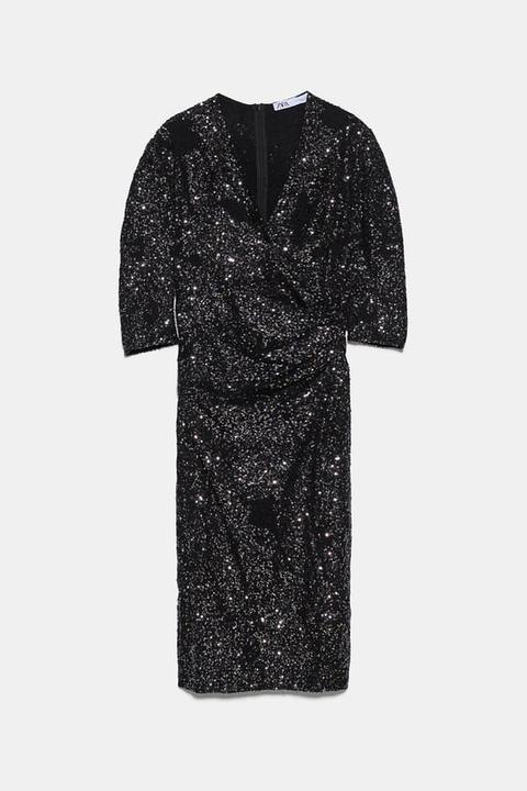 Vestido Lentejuelas Drapeado de Zara en 21 Buttons