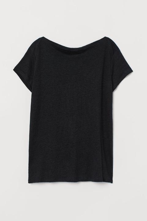 Neueste Mode viele möglichkeiten begrenzte garantie T-shirt Aus Leinen - Schwarz - Damen from H&M on 21 Buttons