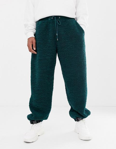 free shipping super cute the sale of shoes Asos Design - Pantalon De Jogging Imitation Peau De Mouton Avec Clip En Bas  - Vert - Vert from ASOS on 21 Buttons