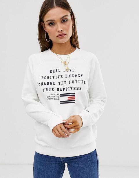 Sudadera Con Logo Y Eslogan Real Love Talita De Tommy Hilfiger-blanco