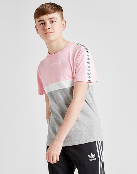 Adidas Originals Colour Block Tape T shirt Junior Pink Kids from Jd Sports on 21 Buttons