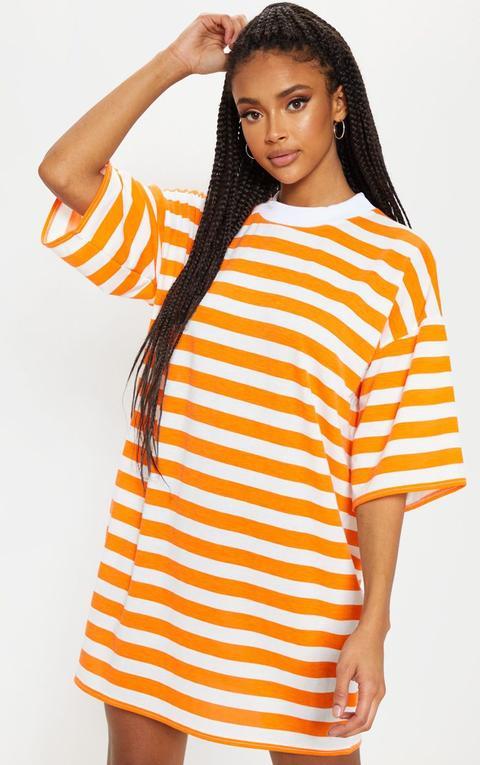 Orange Stripe Oversized Boyfriend T Shirt Dress