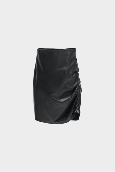 Falda Mini Drapeada Piel de Zara en 21 Buttons