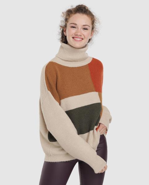 Easy Wear - Jersey De Mujer Cuello Cisne Bloques De Color