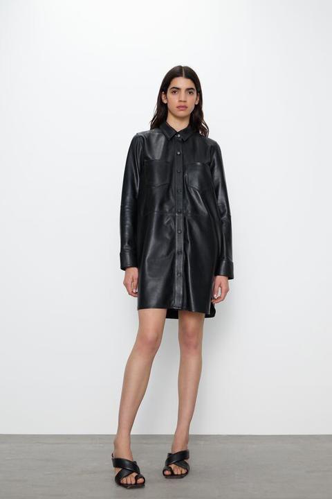 Vestido Mini Piel de Zara en 21 Buttons