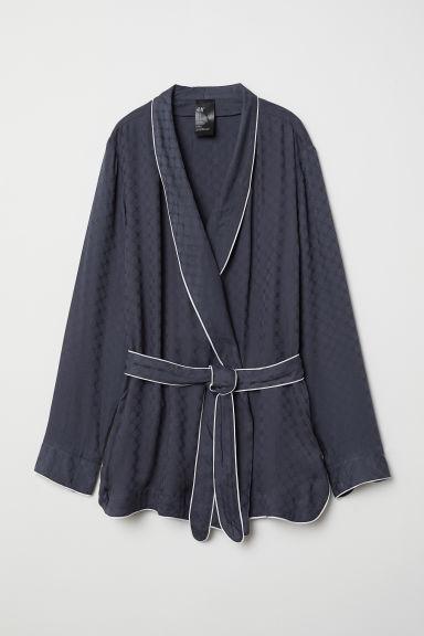 H & M - Pyjama Jacket With A Tie Belt - Blue