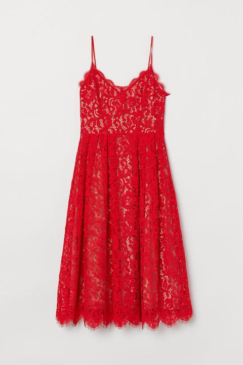 Vestido De Encaje - Rojo de H&M en 21 Buttons