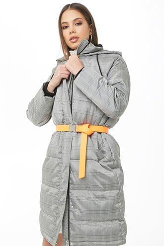 Forever 21 Longline Glen Plaid Puffer Coat , Black/ivory from Forever 21 on 21 Buttons