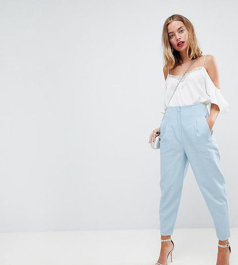 sito web per lo sconto intera collezione qualità eccellente Asos Petite Sartoriale - Pantaloni Semplici In Lino A Vita Alta Con Pinces  - Blu from ASOS on 21 Buttons