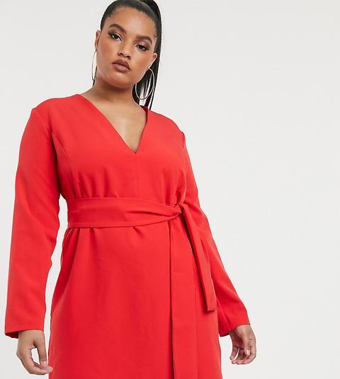 Vestido Estilo Esmoquin De Sastre Con Lazada En La Parte Delantera En Rojo De Vesper Curve de ASOS en 21 Buttons