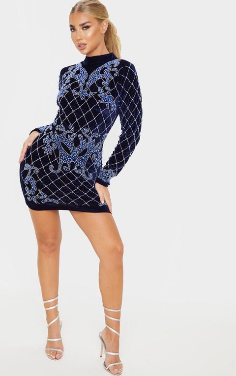 Navy Velvet Embellished Long Sleeve High Bodycon Dress