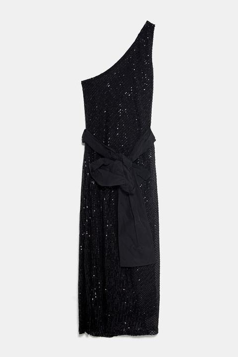 Vestido Lentejuelas Asimétrico de Zara en 21 Buttons