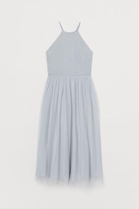 Vestido Con Bordado De Cuentas - Turquesa de H&M en 21 Buttons